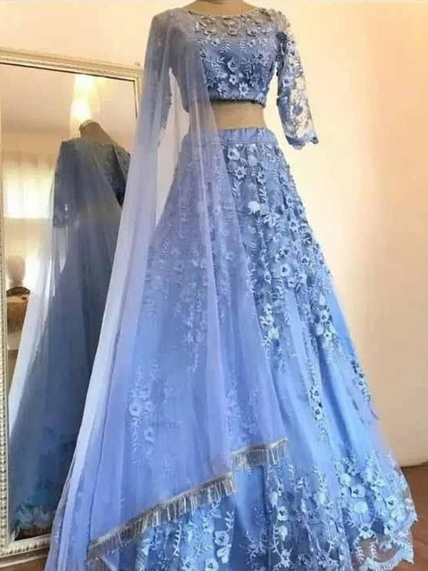 A-Line/Princess Scoop 3/4 Sleeves Tulle Floor-Length Applique Two Piece Dresses