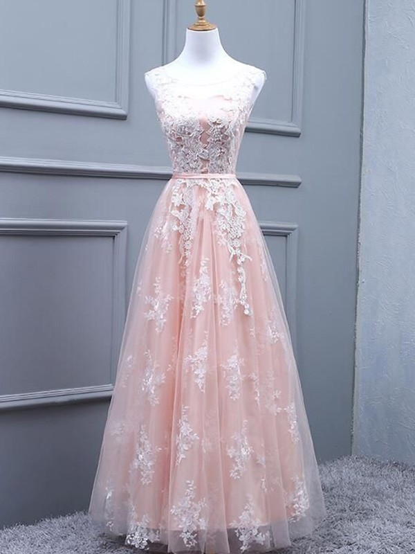 A-Line/Princess Sleeveless Floor-Length Tulle Applique Scoop Dresses