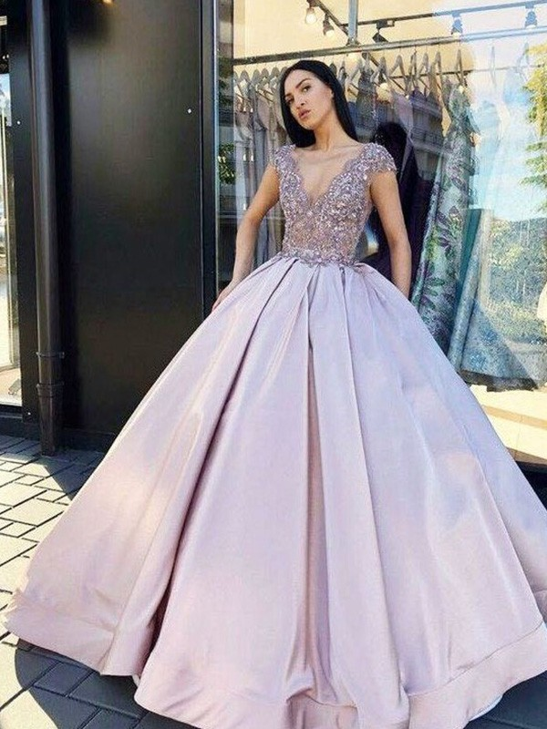Ball Gown V-neck Short Sleeves Satin Floor-Length Beading Dresses