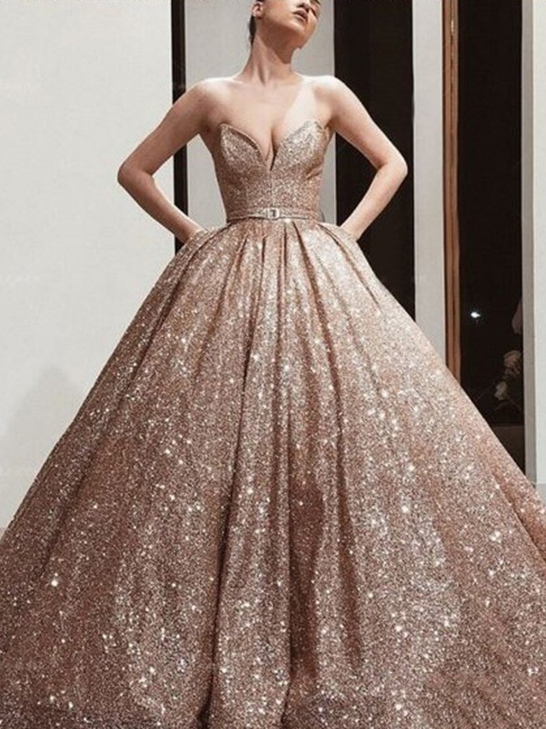 Ball Gown Sweetheart Sleeveless Sequins Floor-Length Sash/Ribbon/Belt Dresses