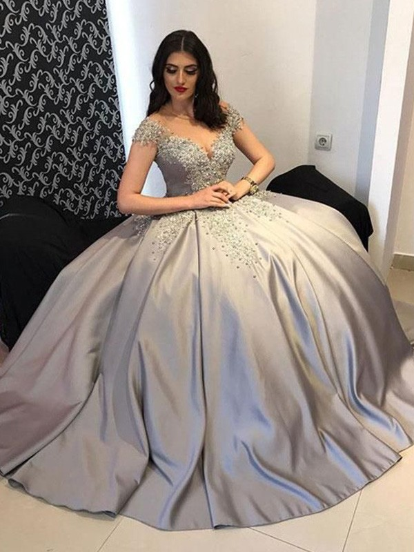 Ball Gown Sleeveless Beading Satin Sweep/Brush Train Off-the-Shoulder Dresses
