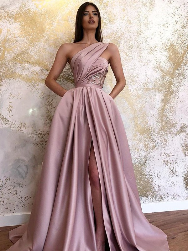 A-Line/Princess Ruched One-Shoulder Satin Sweep/Brush Train Sleeveless Dresses