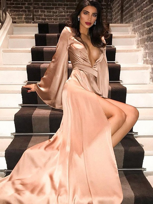 A-Line/Princess Long Sleeves Sweep/Brush Train V-neck Ruched Silk like Satin Dresses