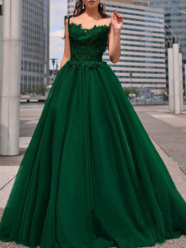 A-Line/Princess Beading Floor-Length Bateau Sleeveless Tulle Dresses