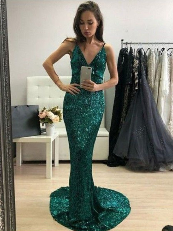 Sleeveless Trumpet/Mermaid Ruffles V-neck Sweep/Brush Train Sequins Dresses