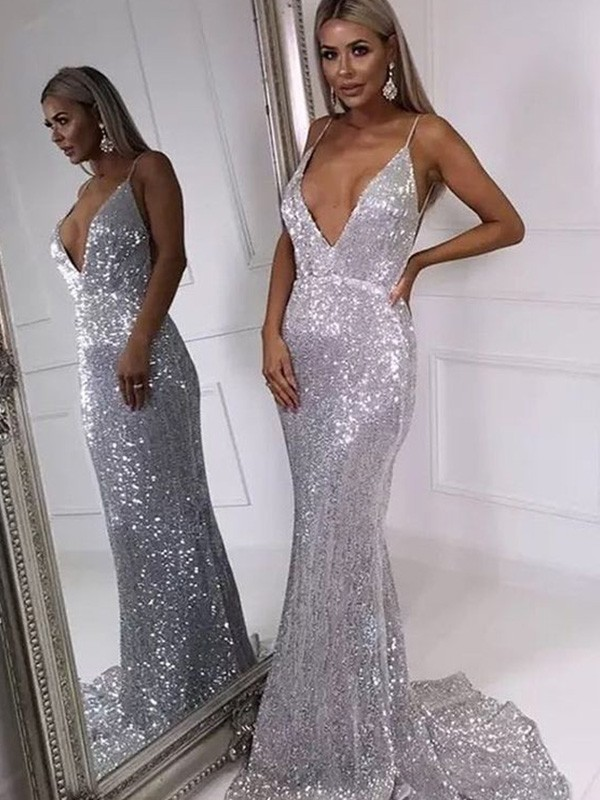 Sequins Trumpet/Mermaid Sweep/Brush Train V-neck Sleeveless Ruffles Dresses