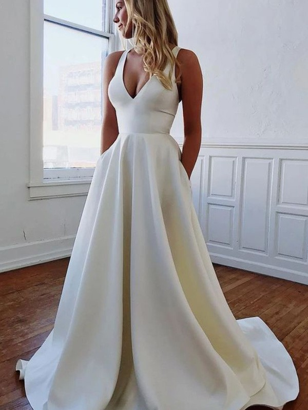 A-Line/Princess Sweep/Brush Train Satin Sleeveless V-neck Ruffles Wedding Dresses