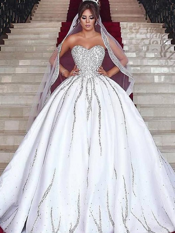 Ball Gown Sweep/Brush Train Satin Sleeveless Sweetheart Beading Wedding Dresses
