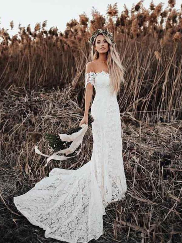 Trumpet/Mermaid Court Train Applique Short Sleeves Lace Off-the-Shoulder Wedding Dresses