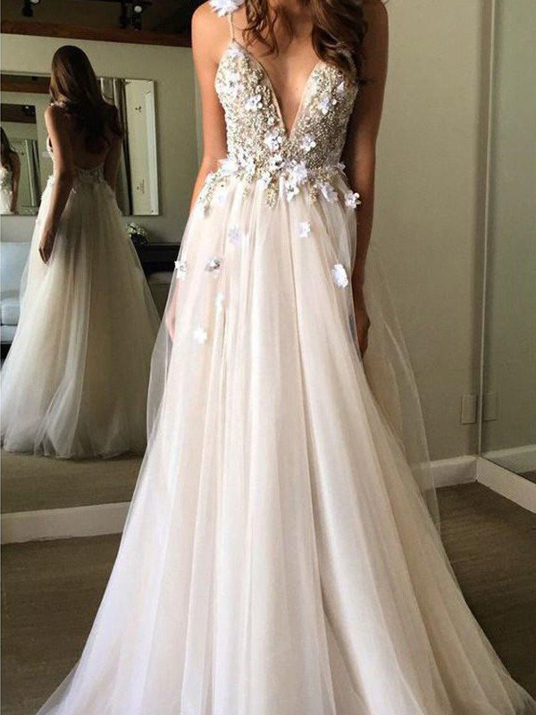 A-Line/Princess Floor-Length Beading Sleeveless Tulle V-neck Wedding Dresses