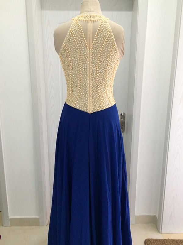 A-Line/Princess Scoop Sleeveless Sweep/Brush Train Beading Chiffon Dresses