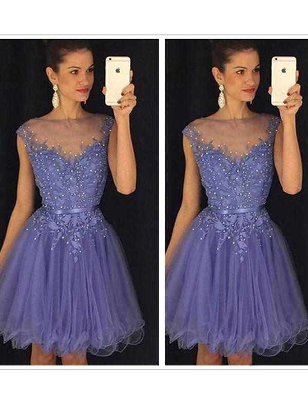 A-Line/Princess Sleeveless Scoop Applique Tulle Short/Mini Dresses