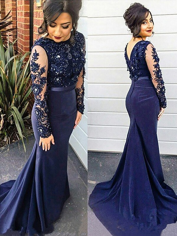 Trumpet/Mermaid Lace Silk like Satin Scoop Sweep/Brush Train Long Sleeves Plus Size Dresses