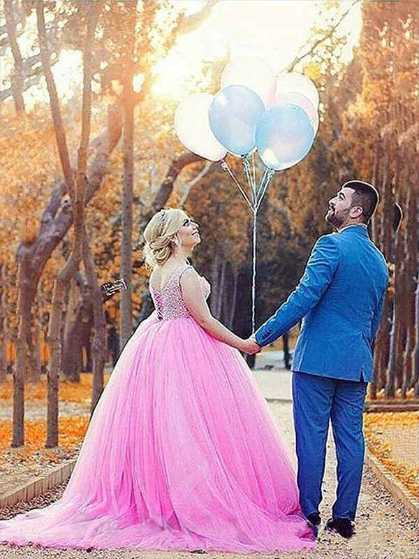 Ball Gown Sleeveless Sweetheart Tulle Sweep/Brush Train Pearls Plus Size Dresses