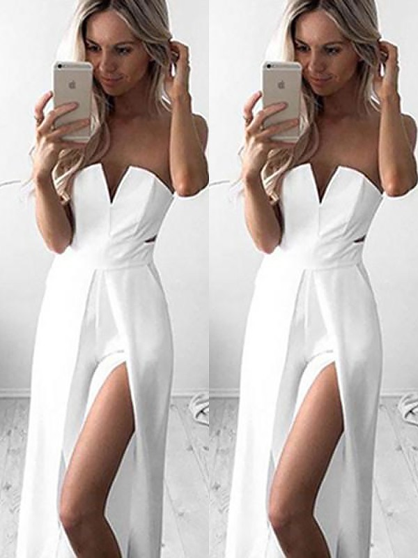 A-Line Sleeveless Strapless Floor-Length Satin Ruched Dresses