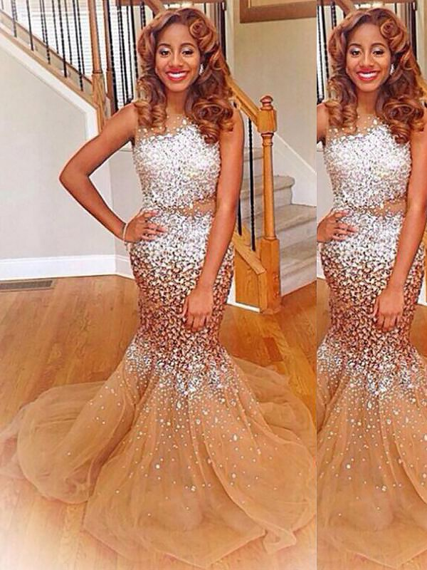 Mermaid Bateau Sleeveless Sequin Sweep/Brush Train Tulle Dresses