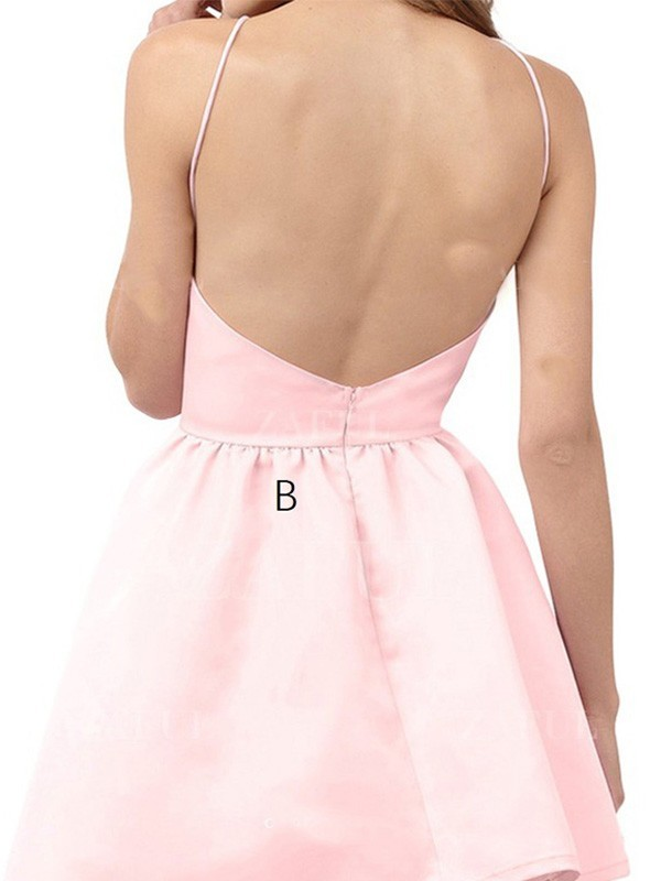 A-Line/Princess Halter Sleeveless Short/Mini Satin Dresses