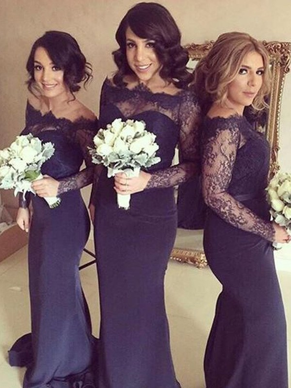 Trumpet/Mermaid Off-the-Shoulder Long Sleeves Satin Sweep/Brush Train Bridesmaid Dresses