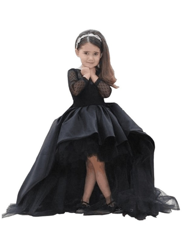 Ball Gown Scoop Long Sleeves Sash/Ribbon/Belt Sweep/Brush Train Satin Flower Girl Dresses