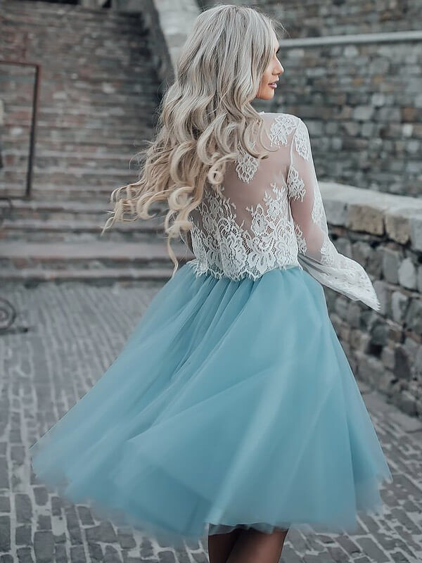 A-Line/Princess Scoop Long Sleeves Short/Mini Tulle Dresses
