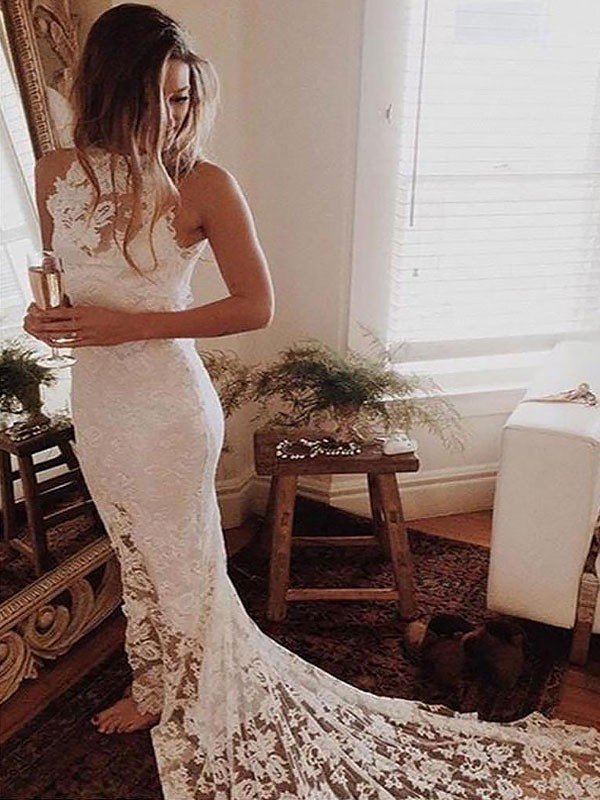 Mermaid Halter Sleeveless Lace Chapel Train Wedding Dresses