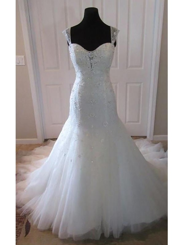 Mermaid Tulle Sleeveless Court Train Straps Wedding Dresses