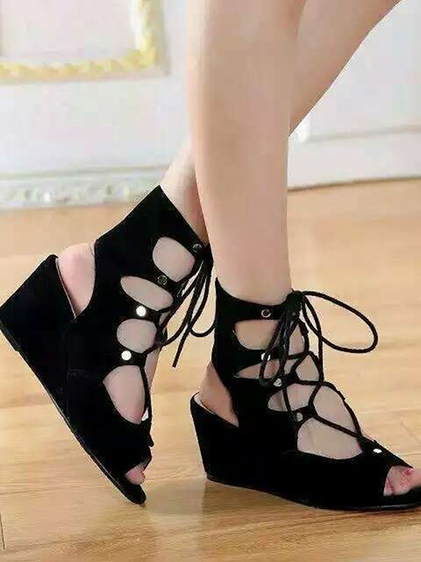 Women's Suede Wedge Heel Peep Toe With Lace-up Sandal Ankle Black Boots