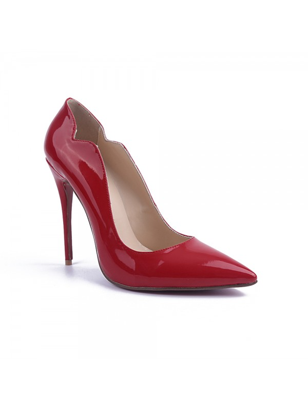 Women's Closed Toe Stiletto Heel Patent Leather High Heels
