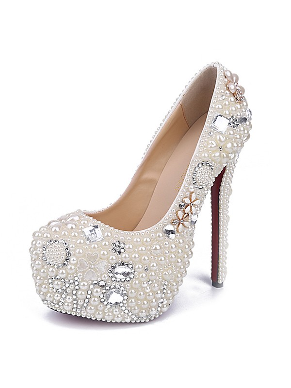 Women's Stiletto Heel Patent Leather Closed Toe With Pearl White Shoes