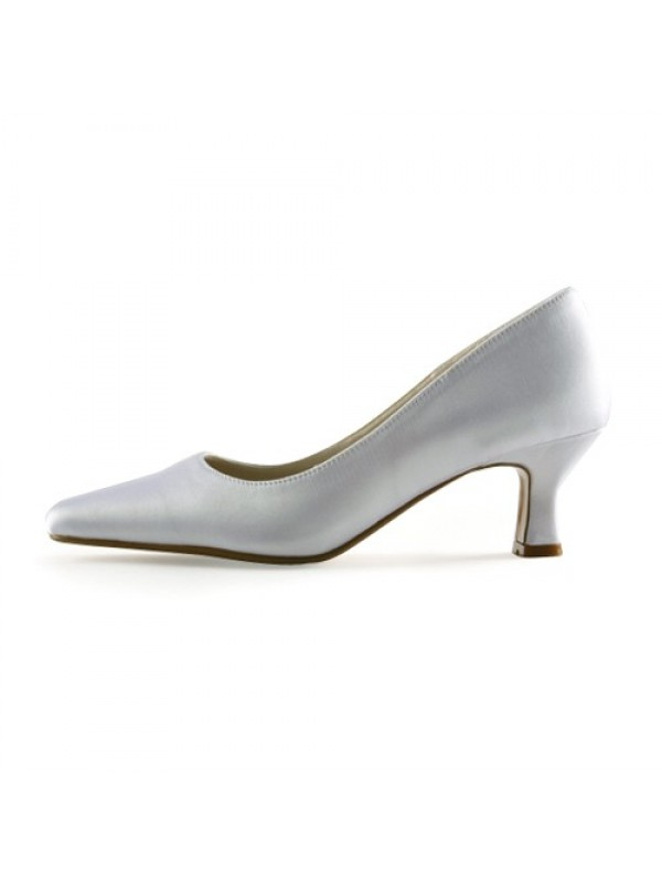 Women's Satin Upper Chunky Heel Pointed Toe White Wedding Shoes