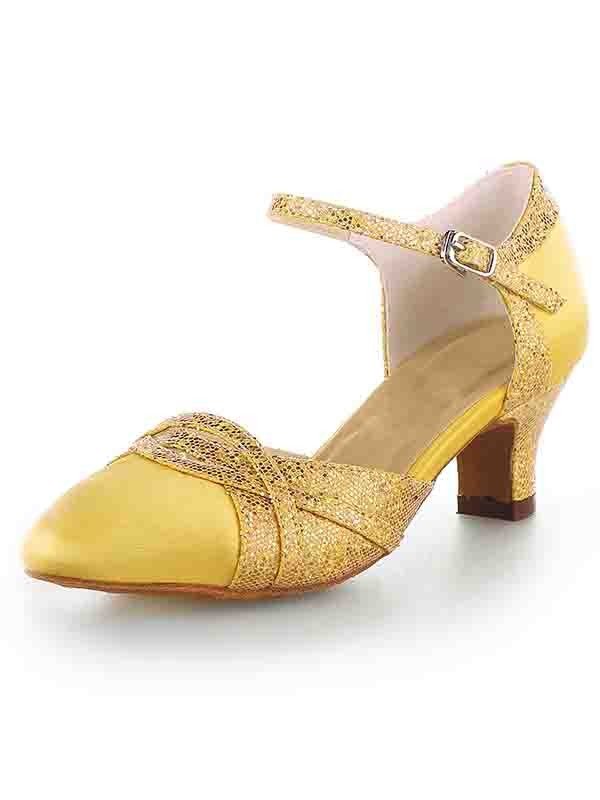 Women's Satin Closed Toe Chunky Heel With Sparkling Glitter High Heels