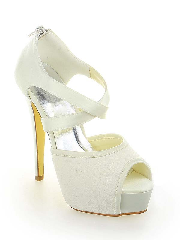 Women's Satin Lace Platform Peep Toe Stiletto Heel With Zipper White Wedding Shoes