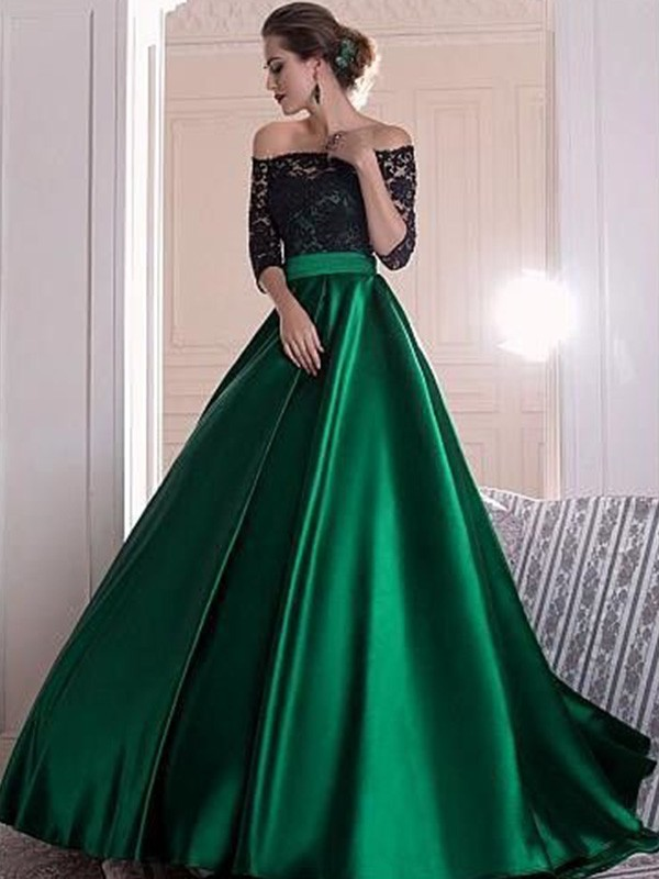 A-Line Off-the-Shoulder 3/4 Sleeves Lace Sweep/Brush Train Satin Dress