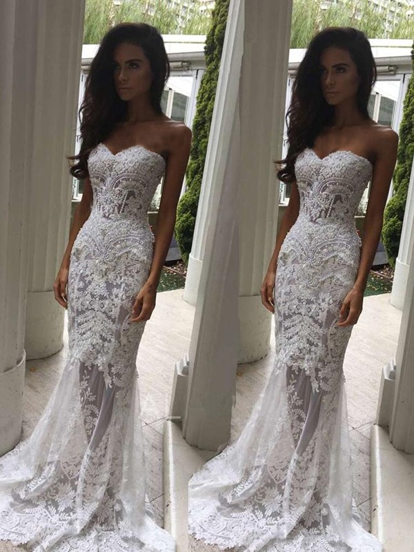 Mermaid Sweetheart Court Train Sleeveless Lace Wedding Dress