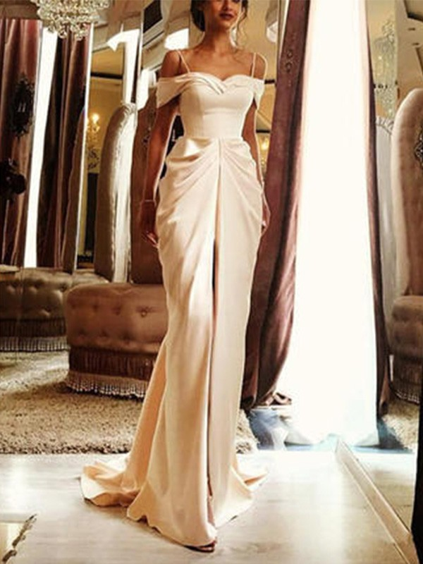 Sheath Sweep/Brush Train Off-the-Shoulder Short Sleeves Silk like Satin Wedding Dresses