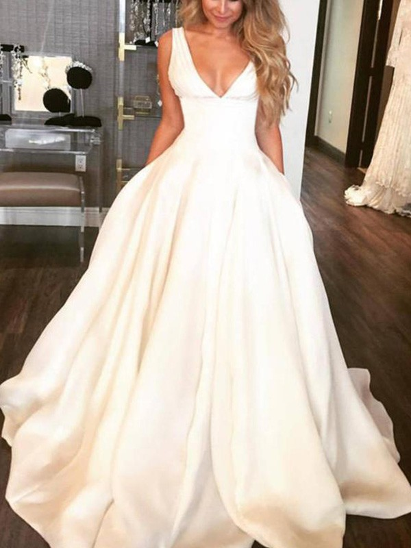 A-Line Sleeveless V-neck Sweep/Brush Train Satin Wedding Dress