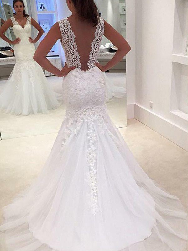 Mermaid Sleeveless Court Train V-neck Lace Wedding Dress