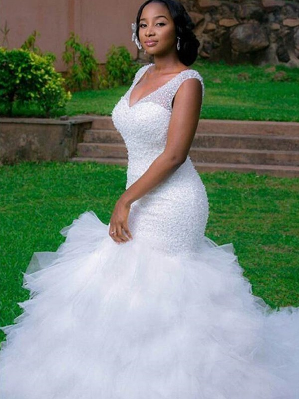 Mermaid V-neck Sleeveless Cathedral Train Organza Wedding Dress