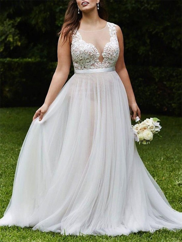 A-Line Scoop Court Train Sleeveless Lace Tulle Wedding Dress
