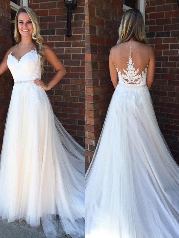A-Line Scoop Sleeveless Court Train Tulle Wedding Dress