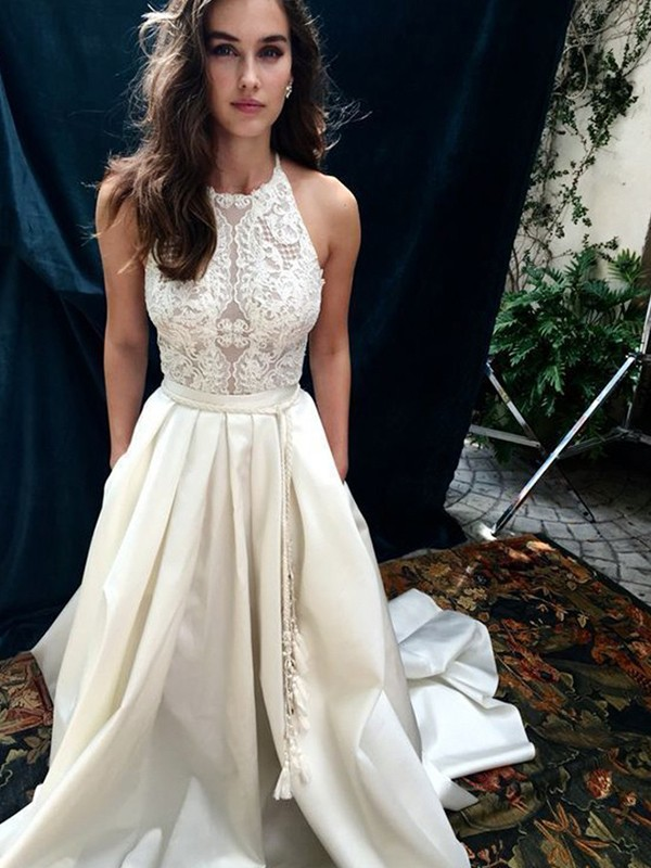 A-Line Satin Lace Halter Sleeveless Chapel Train Wedding Dress