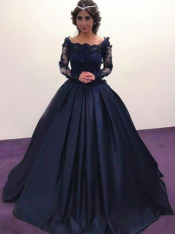 Ball Gown Bateau Long Sleeves With Applique Long Satin Dresses