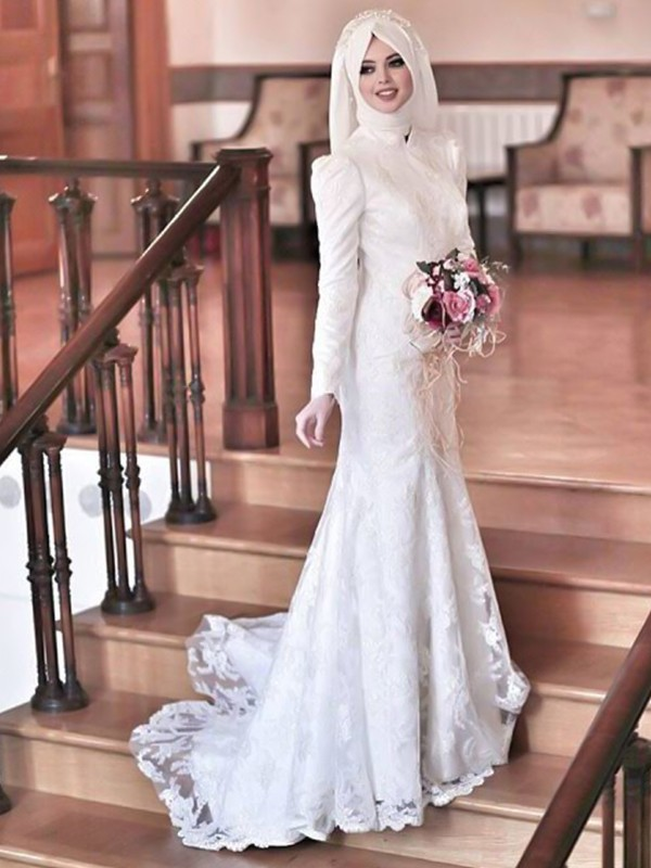 Mermaid High Neck Long Sleeves Sweep/Brush Train Lace Tulle Wedding Dresses